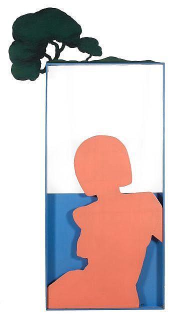 Claude GILLI (né en 1938) BORD DE MER, 1965 Huile sur bois peint découpé