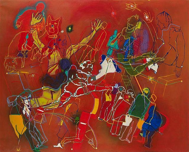 Gérard GUYOMARD (né en 1936) JEROME BOSCH DANS LE METRO, 1983 Acrylique sur toile