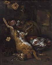 Jan Weenix Amsterdam, 1640 - 1719 Composition au lièvre et aux perdrix Huile sur toile