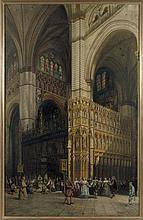 Adrien Dauzats Bordeaux, 1804 - Paris, 1868 Intérieur de la cathédrale de Tolède Huile sur toile (Toile d'origine)