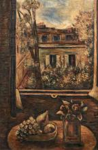 ¤ Léon WEISSBERG 1895 - 1943 Fenêtre ouverte sur cour et nature morte - Circa 1924 Huile sur toile