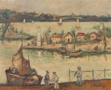 Léon WEISSBERG 1895 - 1943 Le petite port de pêche le soir - Circa 1935 Huile sur toile