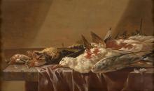 Cornelis LELIENBERGH La Haye, vers 1620 - après 1676 Nature morte aux oiseaux Huile sur panneau