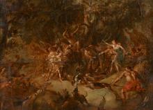Jacob van SCHUPPEN Fontainebleau, 1670 - Vienne, 1751 La chasse de Méléagre Huile sur papier tendu sur panneau,
