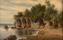 André GIROUX Paris, 1801 - 1879 Vue de Castellone Huile sur toile (Toile d'origine),