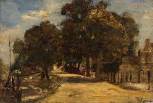 Louis-Adolphe HERVIER Paris, 1818 - 1879 Chemin arboré Huile sur panneau,