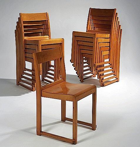 Sven MARKELIUS (1889 - 1972) Suite de six chaises empilables - 1932 Bouleau verni