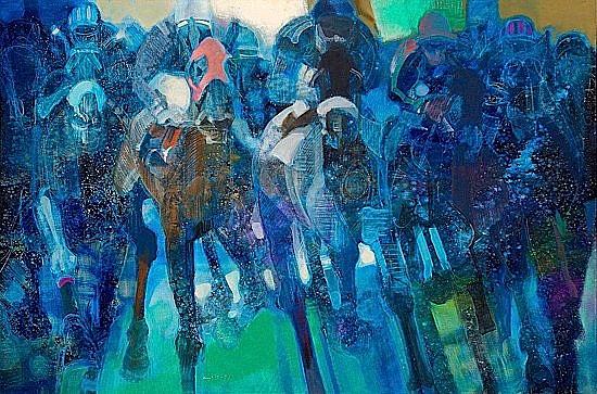 Paul AMBILLE (né en 1930) LE PELOTON, CHEVAUX DE COURSE, 1990 Huile sur toile ...