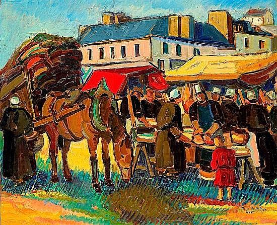 Pierre de BELAY (1890-1947) MARCHE A AUDIERNE, 1928 Huile sur panneau signé et...