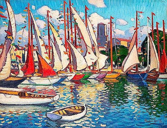 Gaston BALANDE (1880-1971) VOILIERS AU PORT DE LA ROCHELLE, 1951 Huile sur toile ...