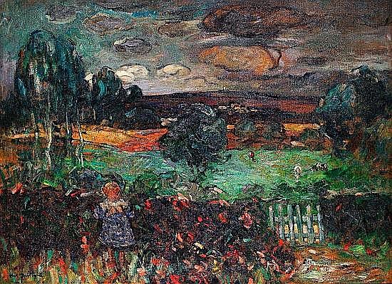 Abel BERTRAM (1871-1954) ENFANT DANS UN VERGER Huile sur toile signée en bas à...