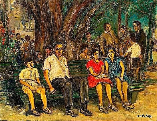 Isaac ANTCHER (1899-1992) SCENE ANIMEE A PERECINA, BESSARABIE, CIRCA 1945 Huile sur toil...