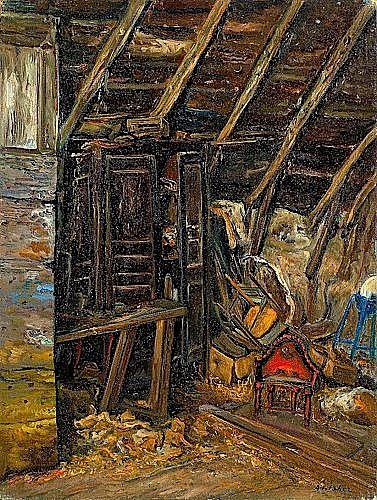 Isaac ANTCHER (1899-1992) LA GRANGE Huile sur toile signée en bas à droite...