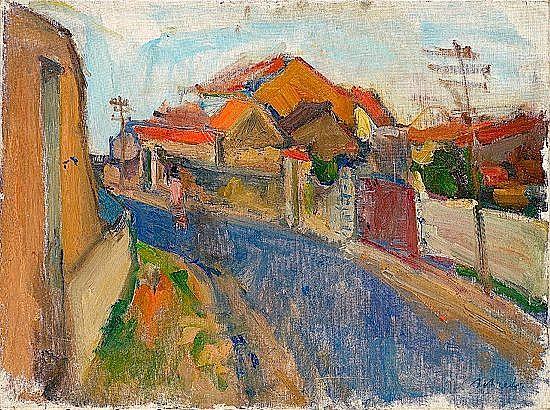 Zygmund SCHRETER (1886-1977) PAYSAGE ANIME Huile sur toile signée en bas à dro...