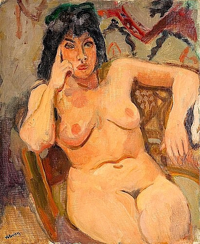 Lazare VOLOVICK (1902-1977) SOLANGE DANS UN FAUTEUIL, CIRCA 1930 Huile sur toile ...
