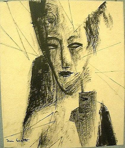 Jean CROTTI (1878-1958) PORTRAIT DE FEMME Encre sur papier signé en bas à gauc...