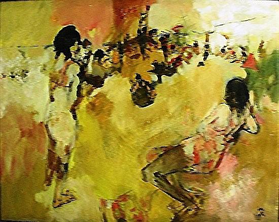 Philippe CARA-COSTEA (Né en 1925) BAIGNEUR SUR LA PLAGE Huile sur toile signée...