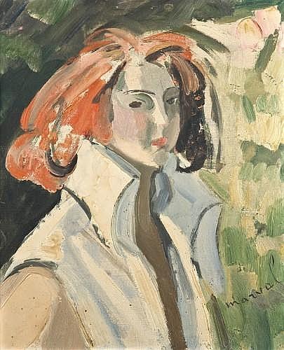 Jacqueline MARVAL (1866-1932) PORTRAIT DE FEMME Huile sur carton toilé
