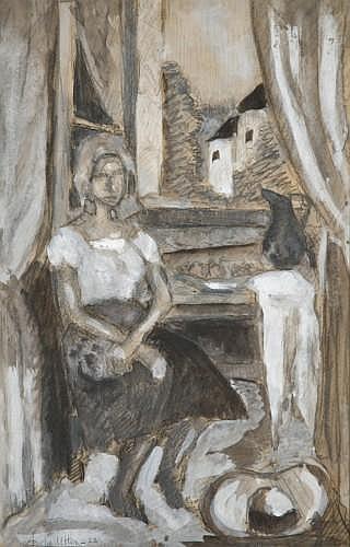 André UTTER (1886-1948) PORTRAIT PRESUME DE SUZANNE VALLADON A LA FENETRE Gouache, fusain et lavis d'encre sur papier