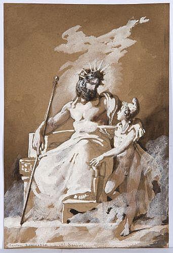 Amable-Paul Coutan Paris, 1792 - 1837 Jupiter et Pâris Gouache blanche et lavis gris sur trait de crayon