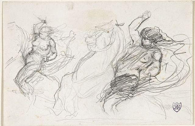 Daniel Casey Bordeaux, (?) - Paris, 1885 Deux études d'amazones chargeant Crayon noir