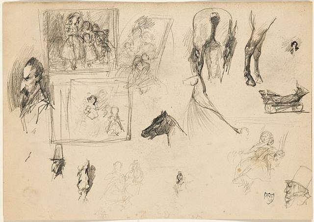 Daniel Casey Bordeaux, (?) - Paris, 1885 Deux feuilles de caricatures et d'études de chevaux Crayon noir