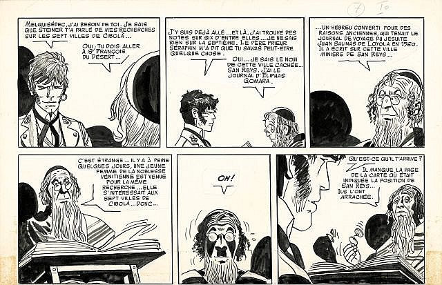 PRATT Hugo (1927-1995)  CORTO MALTESE Encre de Chine pour la demie planche 7a en 2 strips de l'histoire «L'ange à la fenêtre d'orie...