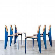 Jean PROUVE (1901 -1984) Suite de six chaises