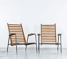 Jean PROUVE (1901-1984) Rare paire de fauteuils visiteurs type