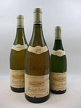 3 flacons 1 bt : MEURSAULT 1996 1er cru Bouchères. Domaine Guy Roulot (étiquette tachée, déchirée, capsule fripée)
