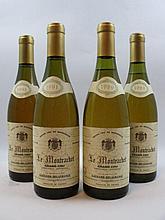 4 bouteilles 2 bts : MONTRACHET 1991 Grand Cru. Gagnard Delagrange (étiquettes tachées)