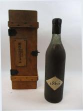1 bouteille  COGNAC ALBERT ROBIN 1865 Fauchon Coffret bois Fauchon (capsule cire cassée)