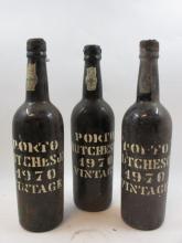 3 bouteilles PORTO HUCHESON 1970 Vintage (1 mi-épaule couleuse