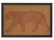 Jacques Cartier (1907-2001) Tigre marchant Sanguine sur papier