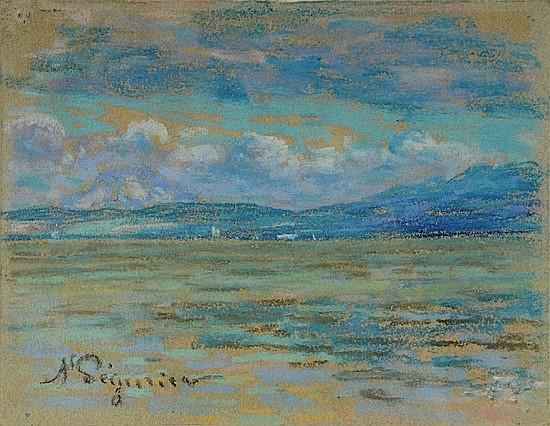 Auguste PEGURIER (1856-1936) LA BAIE DE SAINT-TROPEZ Pastel sur papier
