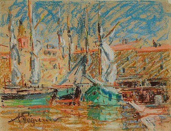 Auguste PEGURIER (1856-1936) VOILIERS DANS LE PORT DE SAINT-TROPEZ Pastel sur papier