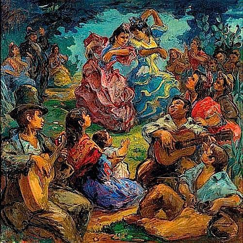 Pedro CREIXAMS PICO (1893 - 1965) FLAMENCO DANZAS Huile sur toile