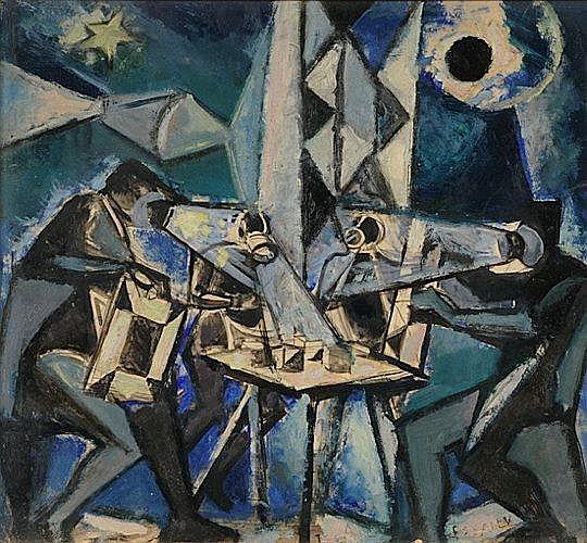 Nicolas ISSAIEV (1891-1977) LES DIAMANTAIRES Huile sur carton