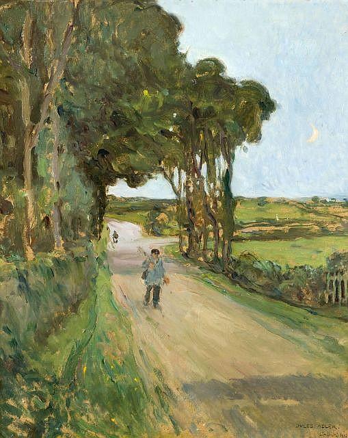 Jules ADLER (1865-1952) RETOUR DE LA CHASSE, SAINT-HONORE, 1912 Huile sur carton monté sur toile