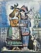Pedro FLORES (1897 - 1967) ARLEQUIN ET COLOMBINE Huile sur toile
