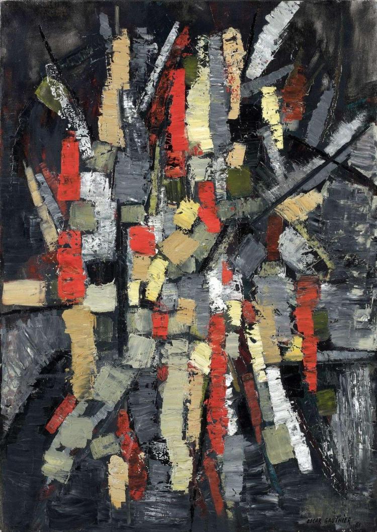 Oscar GAUTHIER (né en 1921) COMPOSITION, 1951 Huile sur toile