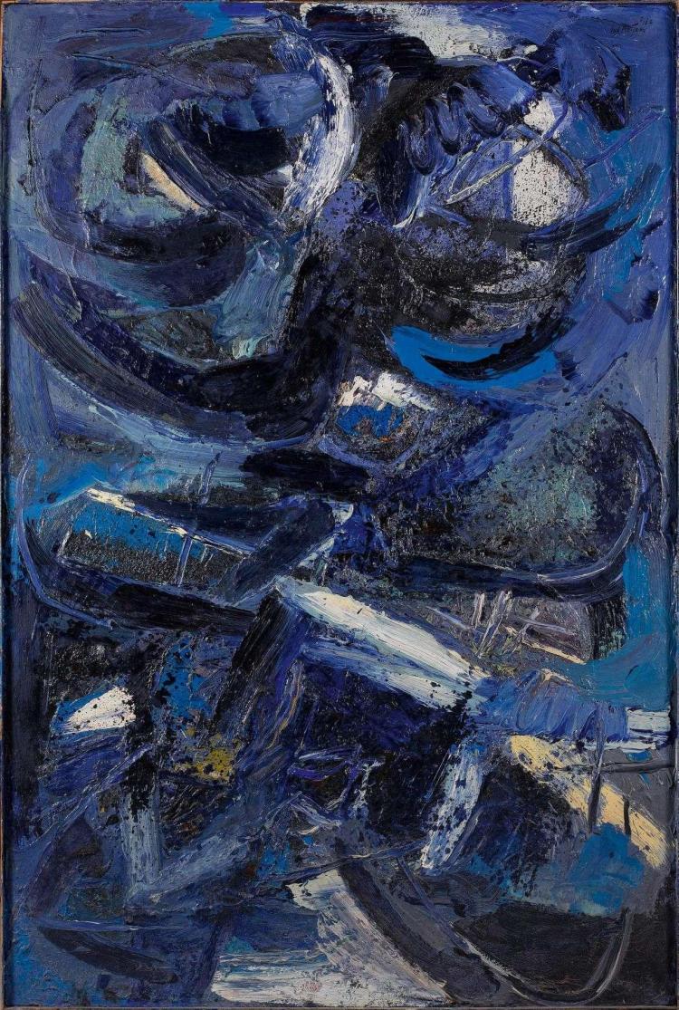Jan MEYER (1927-1995) COMPOSITION EN BLEU DE DEUX CORPS, 1962 Huile sur toile