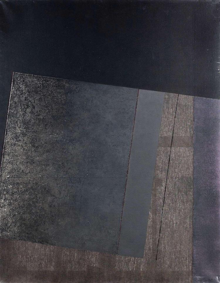 James GUITET (né en 1925) 80F.10.76, 1976 Huile sur toile