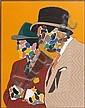 Eduardo ARROYO (né en 1937) PARMI LES PEINTRES, 1975 Technique mixte et collage de papier de verre découpé collé sur panneau, Eduardo Arroyo, Click for value
