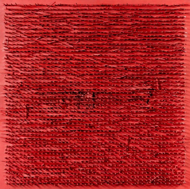 Bernard AUBERTIN (né en 1934) SANS TITRE, 1970 Huile et clous sur panneau