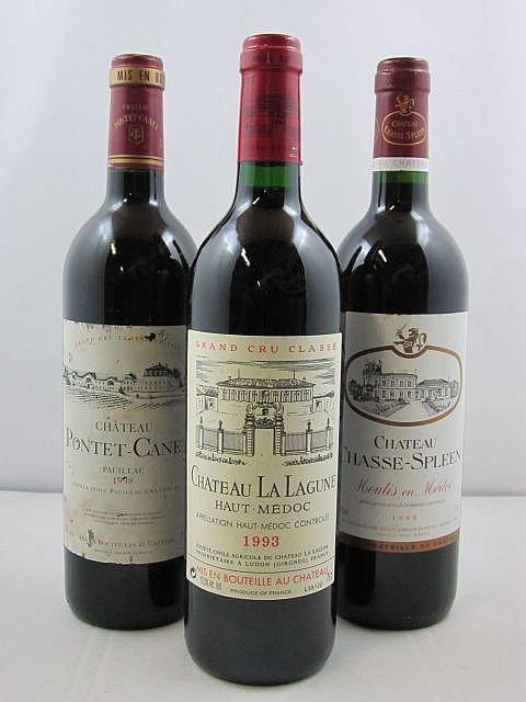 3 bouteilles 1 bt : CHÂTEAU LA LAGUNE 1993 3è GC Haut Médoc