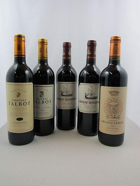 9 bouteilles 1 bt : CHÂTEAU TALBOT 1990 4è GC Saint Julien