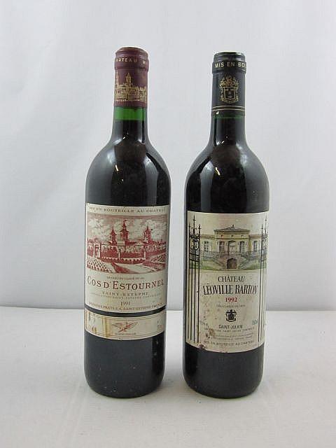 2 bouteilles 1 bt : CHÂTEAU COS D'ESTOURNEL 1991 2è GC Saint Estèphe (étiquette sale)