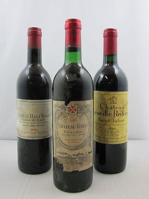 3 bouteilles 1 bt : CHÂTEAU LEOVILLE POYFERRE 1986 2è GC Saint Julien (étiquette sale)