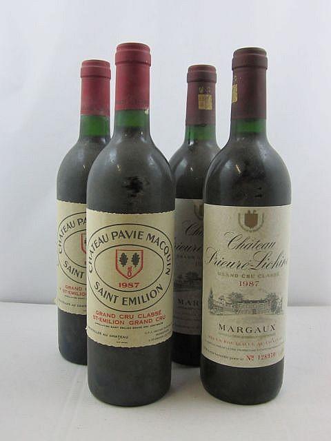 4 bouteilles 2 bts : CHÂTEAU PAVIE MACQUIN 1987 GCC Saint Emilion (étiquettes sales et fanées)